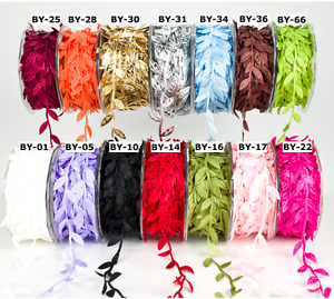 By the Metre 3 FOR 2 18 Colours Bertie's Bows Satin Leaf Trim Ribbon