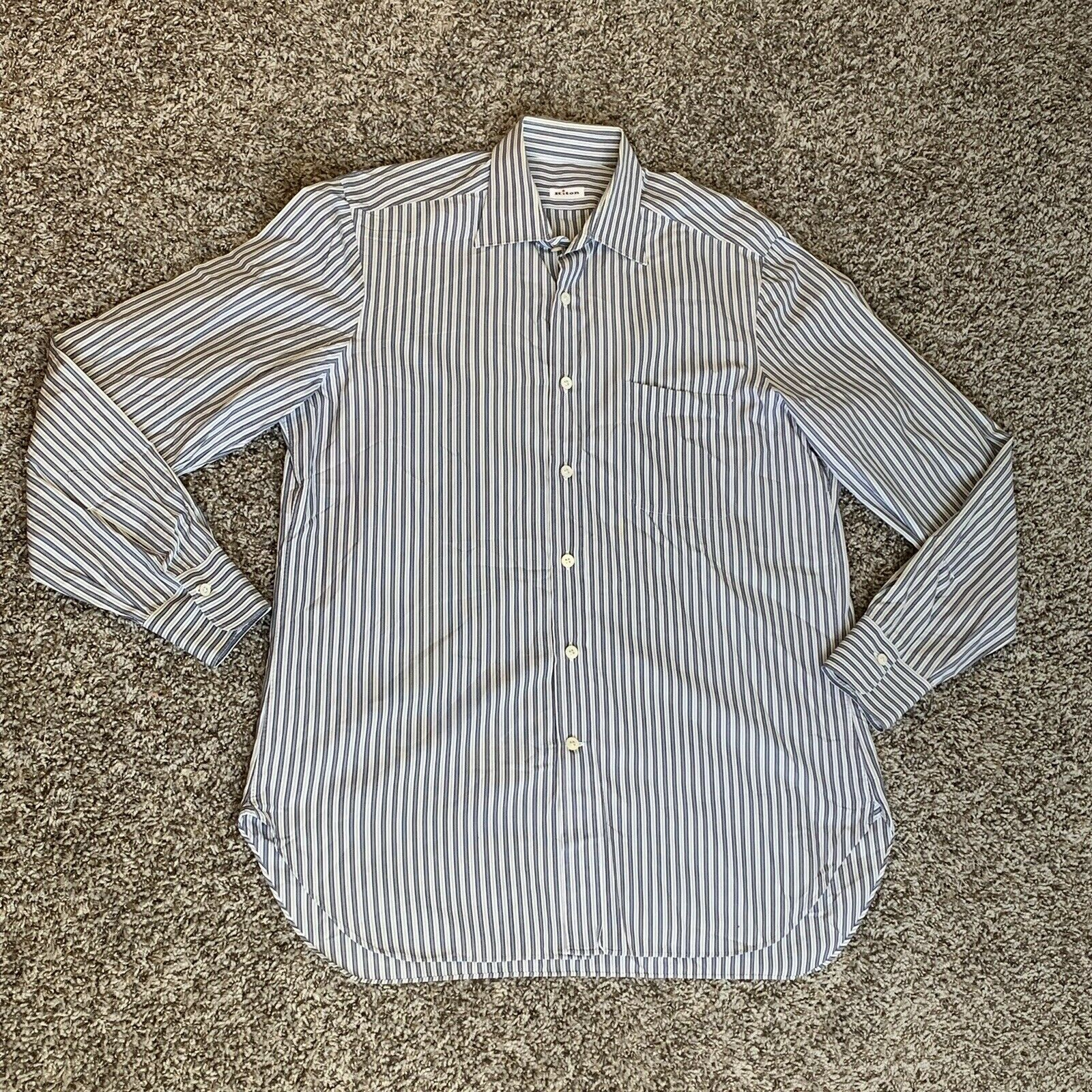 Mens Kiton Button Up Long Sleeve Shirt Navy bluee white Sz 16 1 2-42