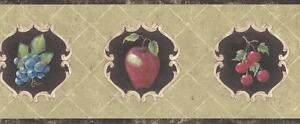 Wallpaper-Border-French-Style-Fruit-Cherries-Apples-Pears-Grapes-on-Brown-Green