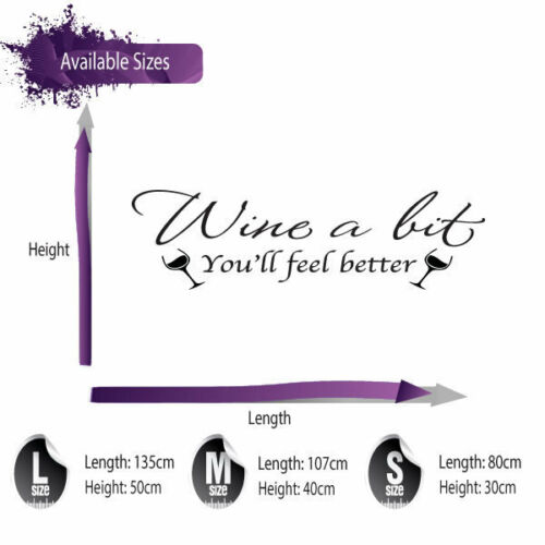 HOME KITCHEN WALL ART DECAL X136 WINE A BIT WALL STICKER QUOTE