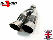 Universal Twin Double Curved Exhaust Tailpipe Tail Trim Pipe Tip Muffler 37-60mm