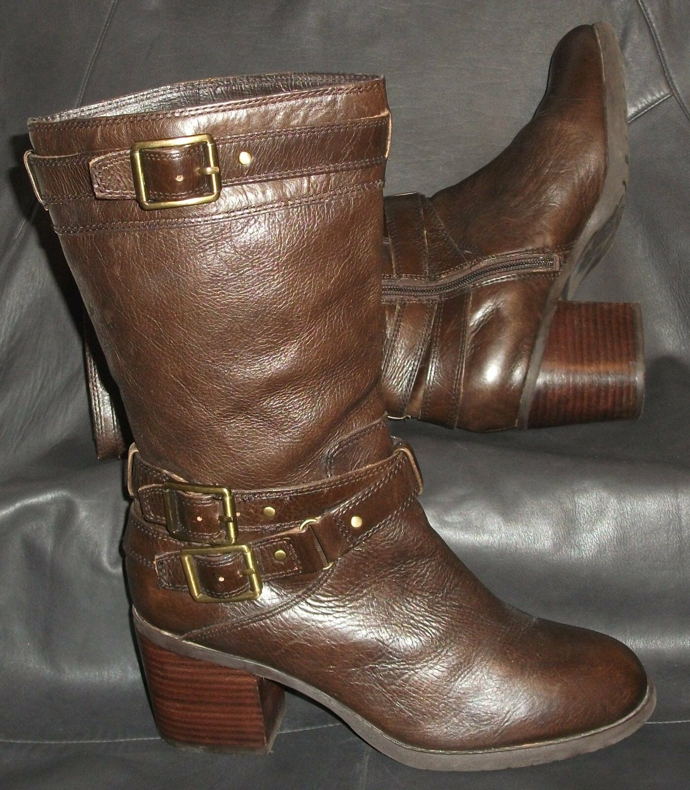 Jessica Simpson womens Brown pebbled lea pull-on zip up mid-calf Boot 81/2B