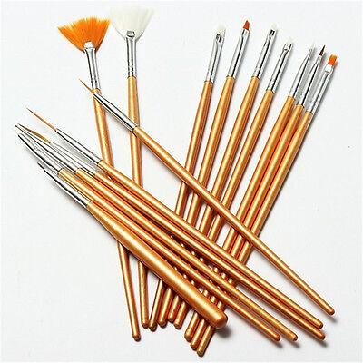 15 pcs Set Nail Art Paint Dot Draw Pen Brush for UV Gel diy decoration tool GOLD