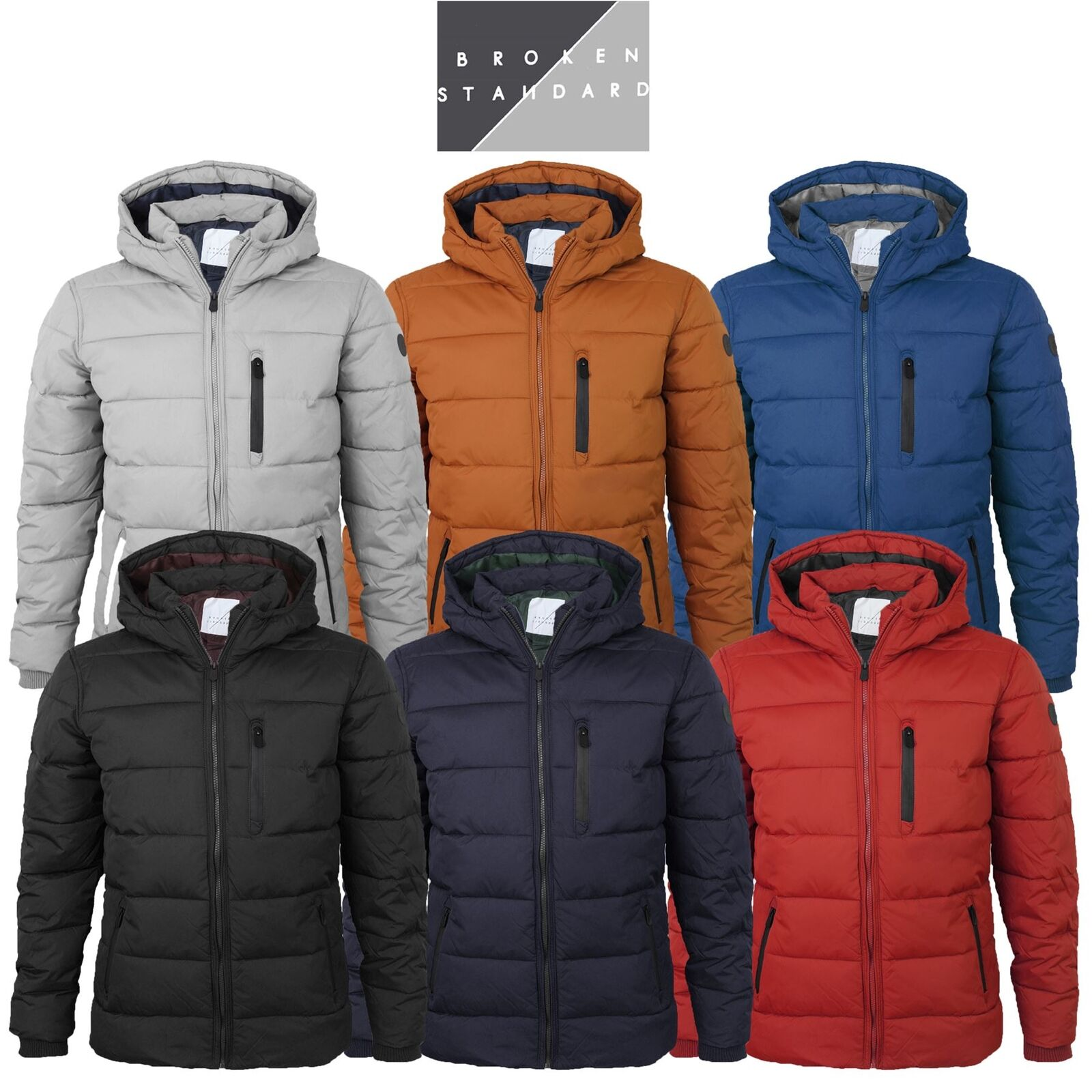 Mens Broken Standard Quilted Padded Puffer Hooded Winter Warm Bubble Coat