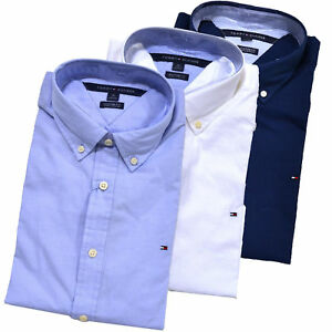 New-Tommy-Hilfiger-Button-down-Shirt-Mens-Long-Sleeve-Custom-Fit-Casual-Collared