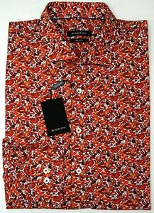 NWT-179-Bugatchi-Long-Sleeve-Shirt-Mens-Size-M-L-XL-XXL-Shaped-Fit-Red-Lips-NEW