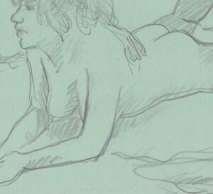 Lying female nude by James Bone 1970s