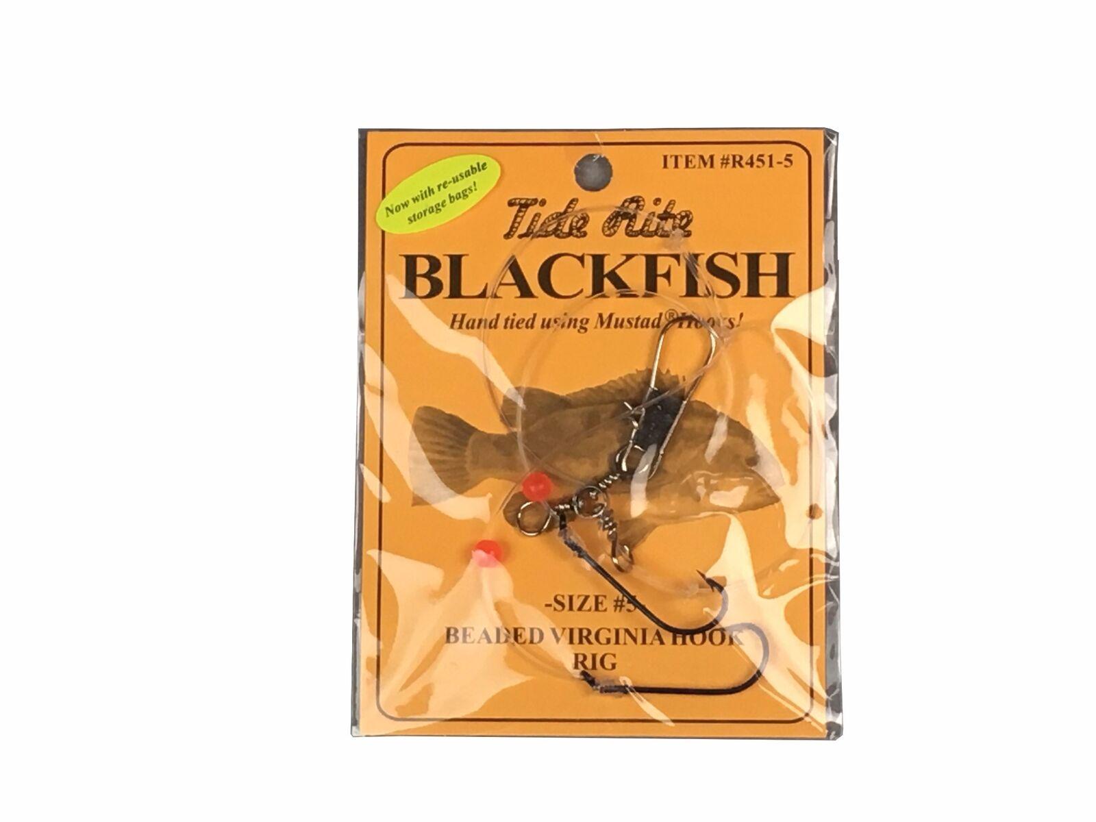 1 BLACKFISH TAUTOG FISHING RIGS TIDE RITE R451-4 BEADED VIRGINIA 2 HOOK RIG
