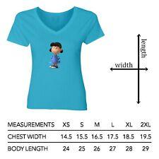Details about  /Peanuts Snoopy Lucy van Pelt Women Junior Girl V-Neck Short Sleeve Top T-Shirt