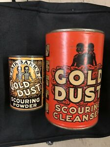 2-NOS-1920-Tin-FAIRBANK-039-S-Sample-GOLD-DUST-SCOURING-POWDER-Mint-Unopened-CAN