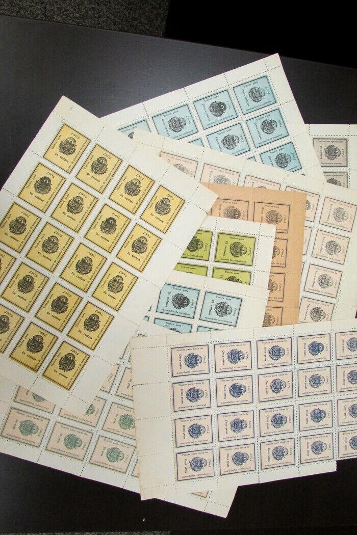 El Salvador 1904 Series of 10 Value Revenue Stamp Sets Mint Scarce