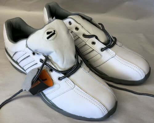 Safety shoes PPE. Workforce brand white and grey trainers