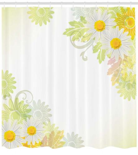 Spring Flower Shower Curtain Fabric Bathroom Decor Set with Hooks 4 Sizes