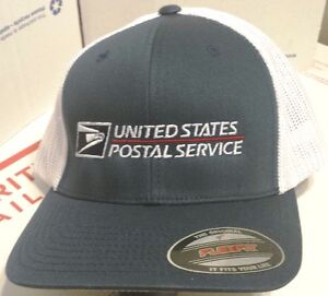 2dd483785a6 USPS POSTAL NAVY  WHITE FLEXFIT SUMMER TIME MESH BACK HAT USPS LOGO ...