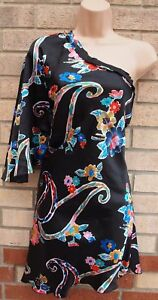 MANGO-MNG-BLACK-MULTI-COLOUR-FLORAL-ONE-SHOULDER-SILKY-SLIP-TUNIC-DRESS-8-S