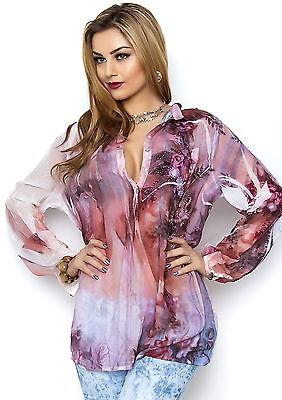 MISSY Bluse Oversized mit Strass Chiffon  mehrfarbig Größe S/M M/L