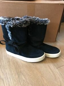 Toms-Vista-Suede-Leather-Faux-Fur-Lined-Boots-BNWOB-Size-3-5