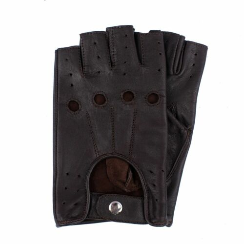 Retro Real Leather Fingerless New Men Driving Cycle Unlined Gloves Chauffeur UK
