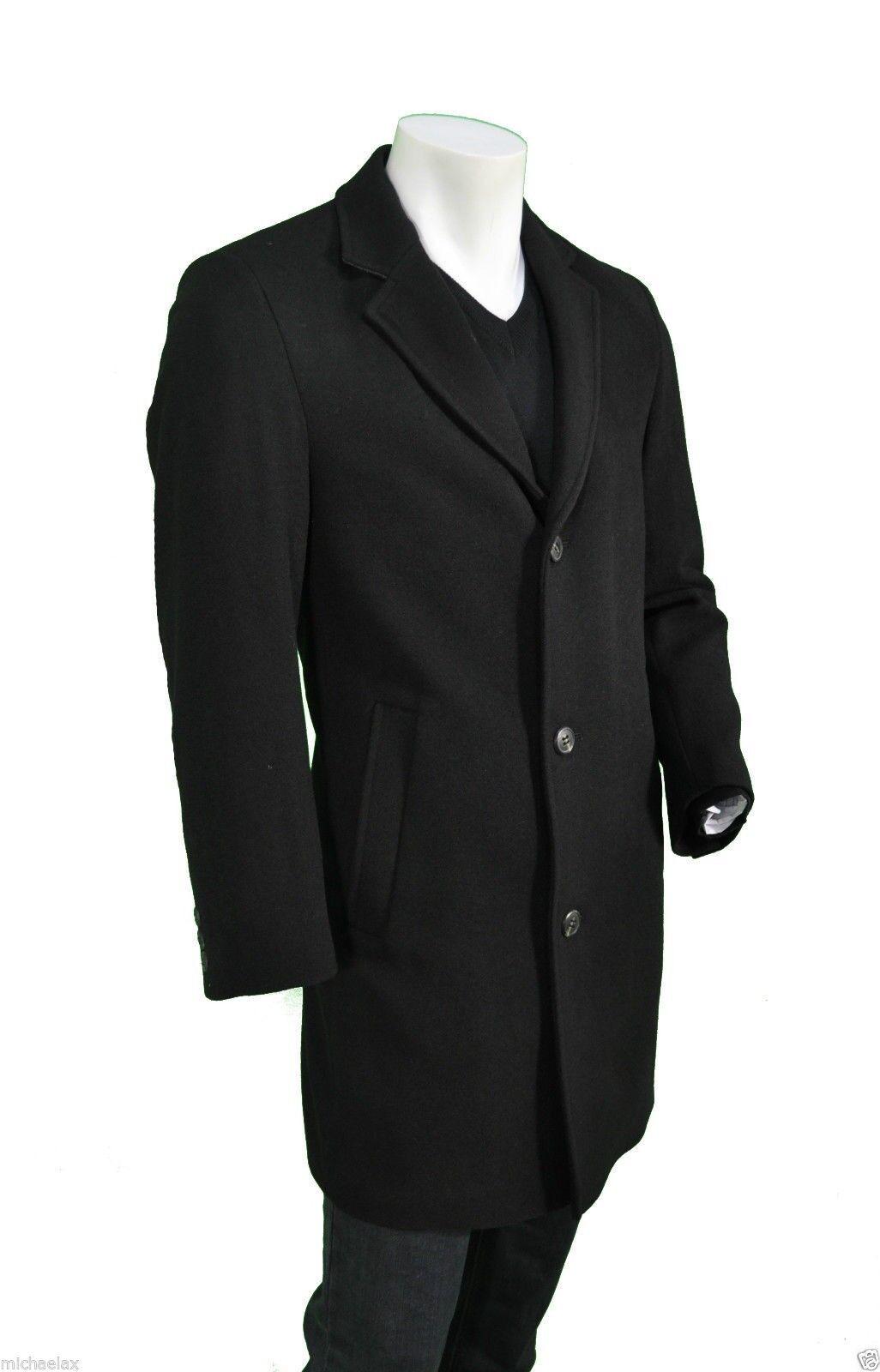 Uomo Cappotto Cashmere in lana con percentuale Cashmere Cappotto in nero, tipo Londra. b07159