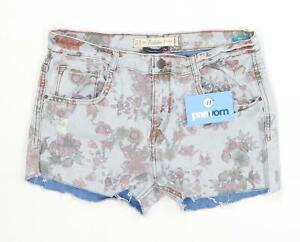 Womens-Zara-Multi-Coloured-Denim-Shorts-Size-8-L3