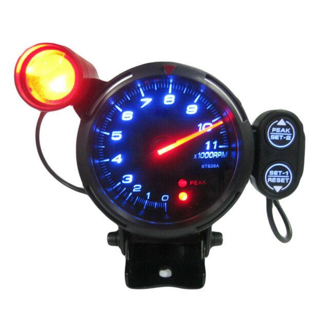 "3.5"" Tachometer Gauge Kit Blue LED 11000 RPM Meter with Adjustable Shift U3X2"