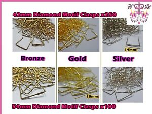 Large /& XL Etched Clasps Art Deco Metal Chandelier Light Links for Beads Crystals Drops Parts Connectors Chrome Antique Brass Join Charms