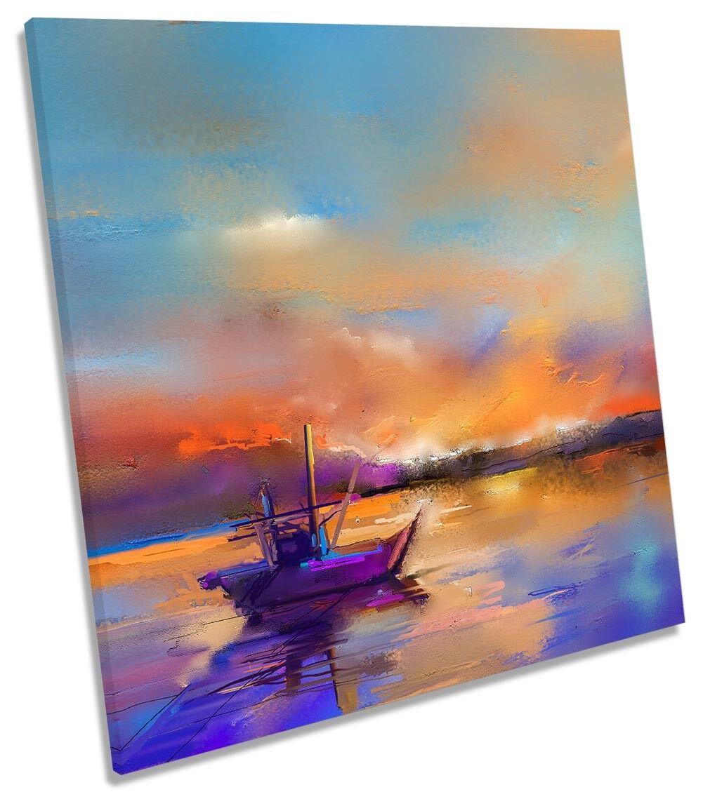 Fishing Boat Sunset Seascape CANVAS WALL ARTWORK Square Art Print