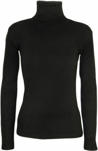 Womens Ladies Polo Roll Neck Long Sleeve Turtle Neck Plain Jumper Top 8 26