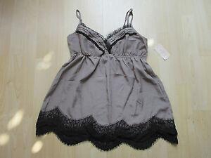 TWENTY-ONE-Ladies-Taupe-Black-Camisole-with-Lace-Trim-Size-Medium