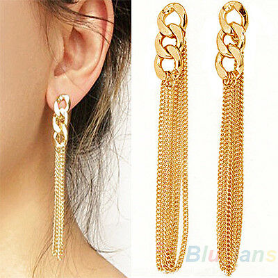 Retro Chain Dangle Earrings Golden Tassel Jewelry for Women Party Prom Gift