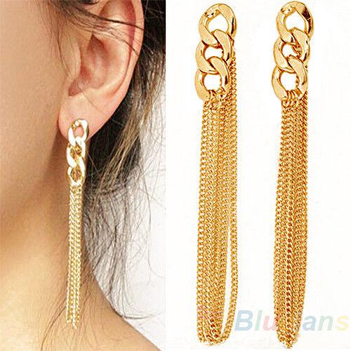 Retro Chain Dangle Earrings Golden Tassel Jewelry for Women Party Prom Gift