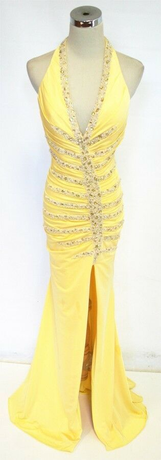 NWT JOVANI Yellow   500 Formal Evening Prom Gown 14