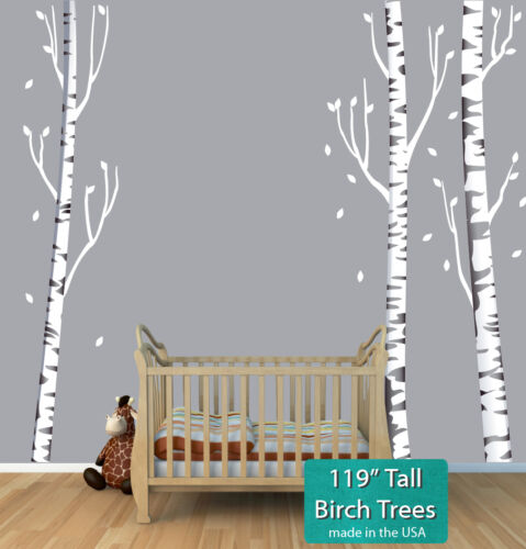 "3x 119"" Birch Tree Wall Sticker, Birch Tree Decal, 3 Birch Tree Wall Mural Theme"