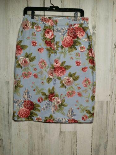 Cambridge Dry Goods Floral Denim Skirt Size 14