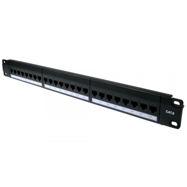 "24 Port Cat6 Gigabit Patch Panel 1U 19"" Network RJ45 Inline Coupler Keystones"