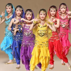 Girls-Kids-Belly-Dance-Pants-Trousers-Suit-Children-Festival-Party-Fancy-Costume