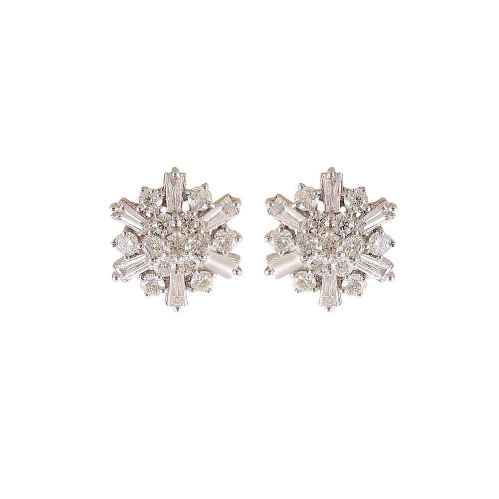 Pave 1.38 Cts Natural Diamonds Stud Earrings In Solid Certified 18K White gold