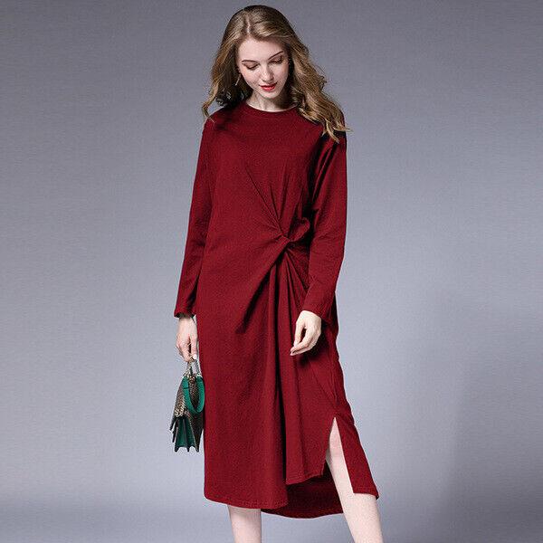 Elegante vestito abito maxi rosso bordeaux corto scampanato morbido 4959