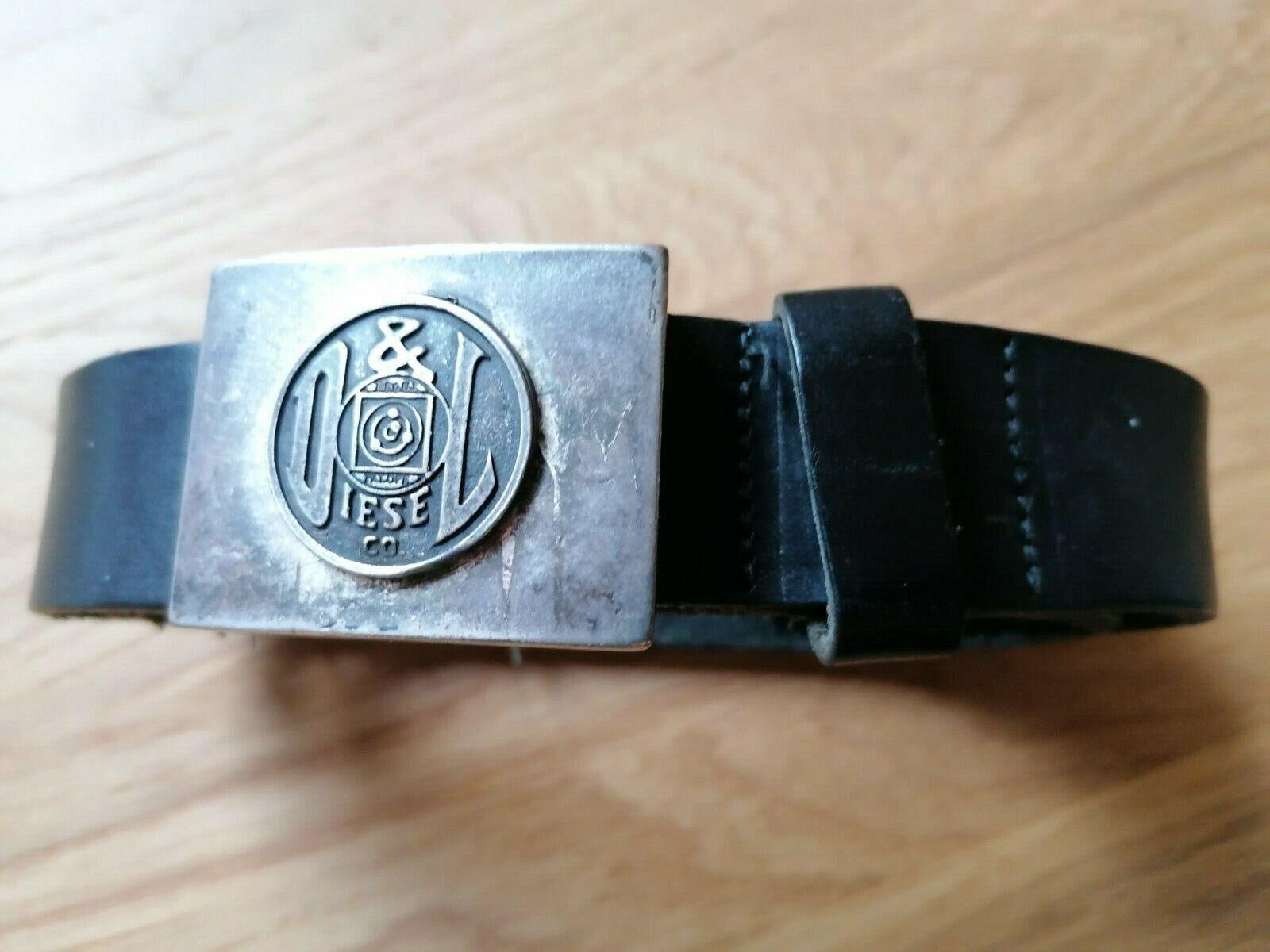 Diesel Ledergürtel schwarz Schnalle silber, TW 85, 3,4 cm breit