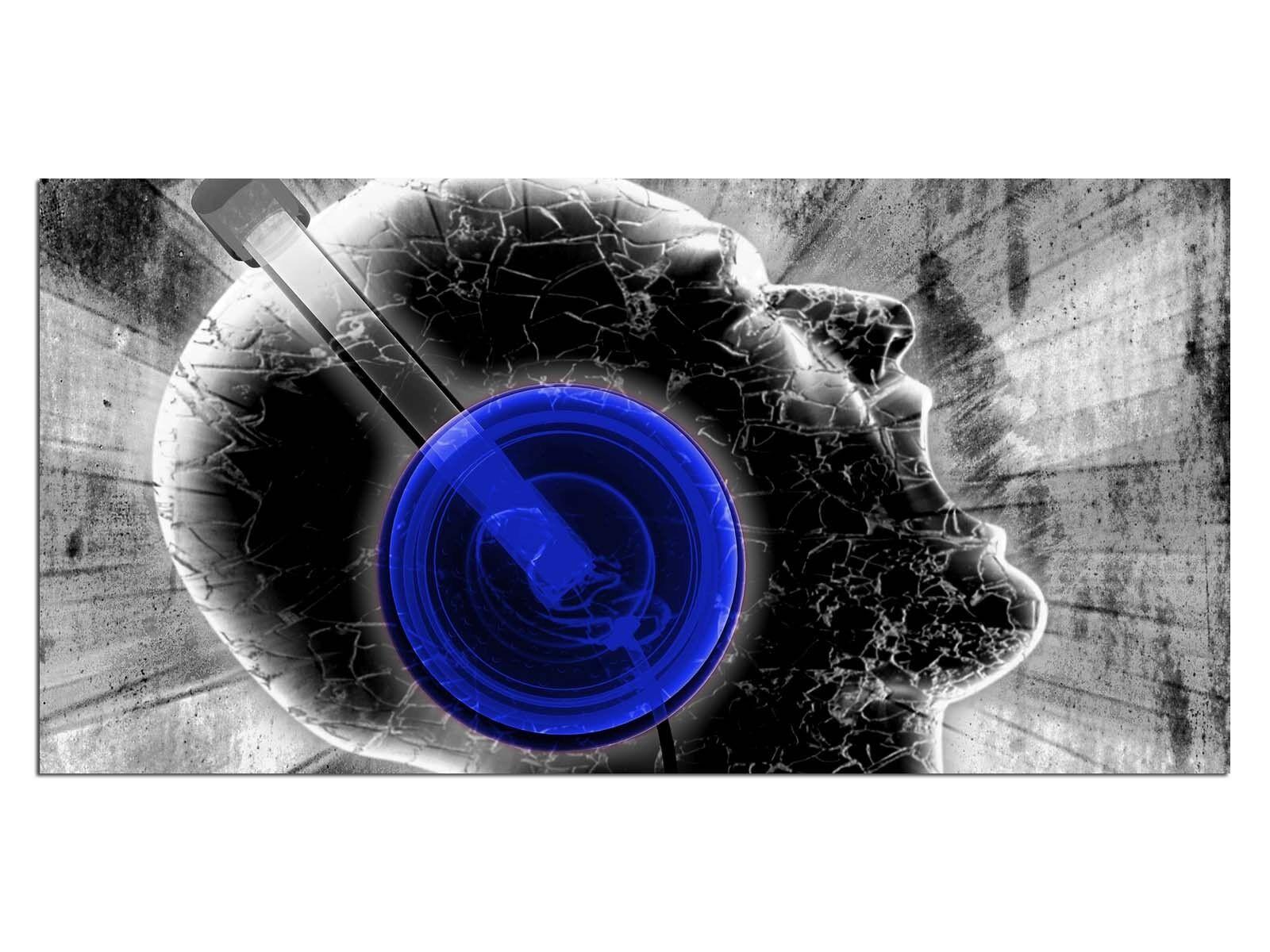 Deco Glas Bild EG4100500626 MUSIC DESIGN Blau Größe 39,37  x 19,68  HD Drucken