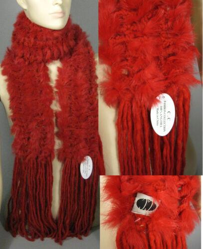 Nueva Bufanda Roja Angora mezcla Tamaño 88 En Bufandas Tejido elegante Flecos Wrap sólido Nuevo Con Etiquetas
