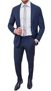 nuovo autentico Prezzo di fabbrica 2019 risparmia fino al 60% Abito completo uomo Sartoriale blu scuro a righe gessato elegante ...