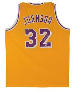 湖人魔術師約翰遜簽名黃色球衣真品親筆簽名 BAS 見證了 2