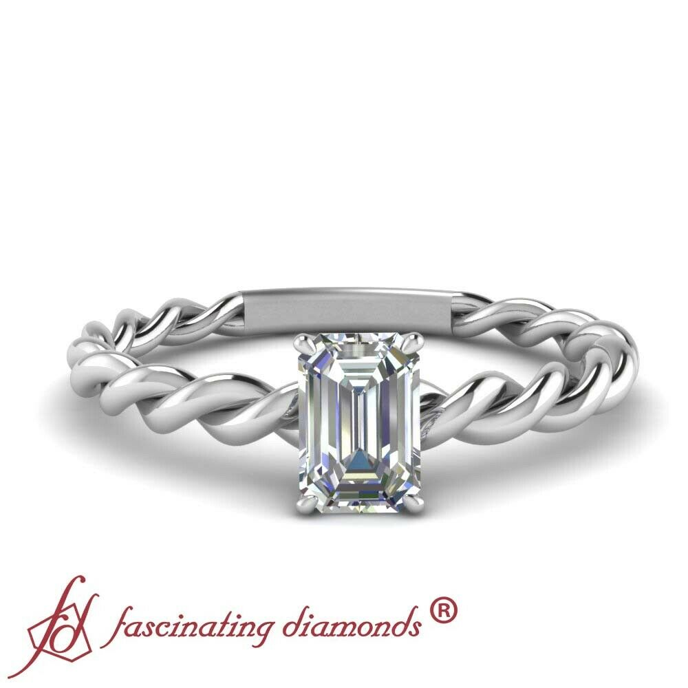 Emerald Cut Conflict Free Diamond Solitaire Twisted Engagement Ring 14K 0.35 Ct