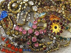 100-SWAROVSKI-RHINESTONE-CHAIN-ROPE-STRIPS-in-SETTINGS-LOT-VTG-FINDINGS-CRAFTS