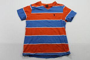 US-Polo-ASSN-Orange-Blue-Striped-V-NECK-T-SHIRT-Large