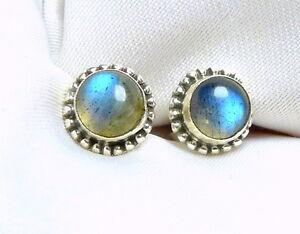 Labradorit-Ohrstecker-925-Silber-ca-7-mm-grosse-blaue-oder-gruene-Cabochons-neu