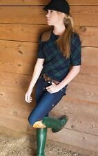 Ralph Lauren RARE  Vintage Equestrian Green/Blue Plaid Shirt Top Sz M Medium EUC