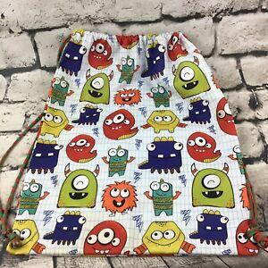 Kids Monster Print Drawstring Backpack Sleepover Weekender