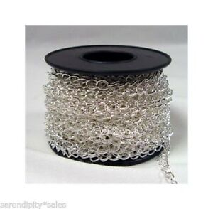 Spool Silver Plated CURB CHAIN ~Soldered Links ~ 32 feet ~ 4.2mm x 5.2mm